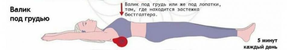 Как положить валик под грудь
